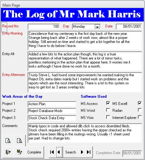 Engineers Log Database